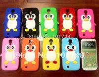 For samsung galaxy case S4, Cute Penguin Soft Silicone Cover Case For Samsung Galaxy S4 S IV i9500, Mix Color 10pcs/lot