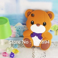 Lovely Fashion 3D Teddy Bear Silicone Soft Case Cover for Apple iPod Touch 4 4G Free Shipping