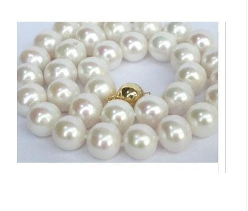 "noblest AAA+ rare 12-13mm South Sea WHITE pearl necklace 18"" +box(China (Mainland))"