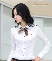 free shipping brand puff sleeve casual shirt women ol cotton lady blouse (black white)