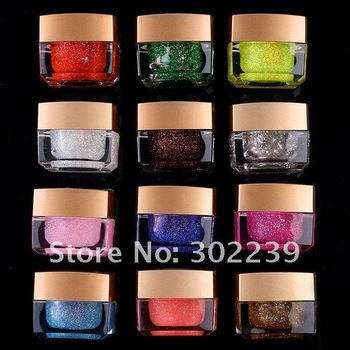 UV Gel Glitter Gel for Nail Art,Free Shipping 12 Color/Lot HB4482