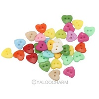200pcs Lots Mixed Colors Heart 2 Holes Nylon Buttons 16mm 111638