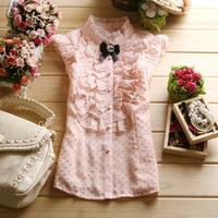 Free Shipping! 2013 Summer Fashion Women's Sweet Gentlewomen Polka Dot Chiffon Sleeveless Ruffle Collar Slim Shirt Top T06869#