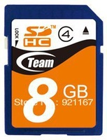 Free Shipping! Brand New Team 8GB Class4 SDHC Memory Card for Cameras/DVs/HD Vedios