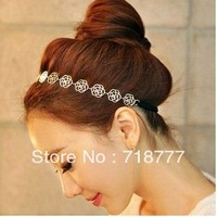 Min. Order $ 15 ( Can Place Mix Order ) HR001 Hollow Rose Elasticity Hair Rope Band / Hair Jewellery/ Headbands