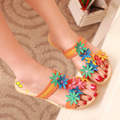 wholesale Free shipping 2013 summer new Bohemia style Slides sandals for womens Flowers PU shoes QZX-B52  T