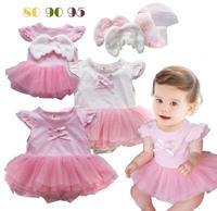 New girls tutu dress romper cute baby girl's  dress angel wing lace children tutu dress baby tight wear  ,free shipping