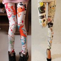 Legging orange splash-ink legging skinny legging pants