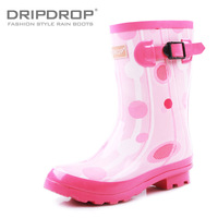 Women's neon colorful fashion jelly water shoes flat knee-high boots rainboots