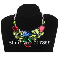 Cheap Wholesale 1pc  Silver Chain Irregular Resin Rhinestone Alloy Bib Pendant Necklace  321017