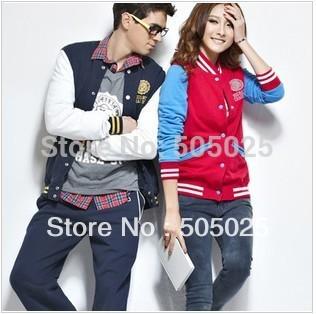 Free drop shipping women's Latest trend Korean baseball coat lovers varsity jacket cardigan sweatshirts hooded