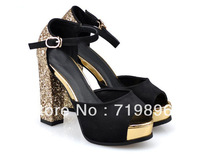 Square heel peep toe sexy shoes genuine leather ankle strap platform summer  high heel shoes for women