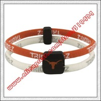 Texas Longhorns Double Loop Trion-Z Bracelet - Burnt Orange  White