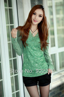 free shipping Spring 2013, the new embroidery lace render unlined upper garment decoration Ms. Han edition T-shirt t-shirts