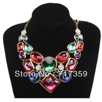 Elegant 1 piece/lot Golden Chain Choker Necklace Colorful Alloy Resin Necklace Jewelry 51cm 321021