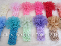 Fashion Silk Baby Flower Crochet Headbands Headwear Hair Accessories,12 Mixed Colors,Free Shipping