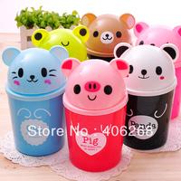 free shipping wholesale cheap!!Fashion cartoon animal Waste Bins mini desktop garbage bucket