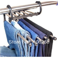 free shipping  cheap!! high quality Multifunctional  folding pants hanger magic hanger stainless steel hanging pants rack