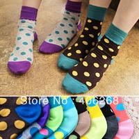 free shipping wholesale cheap!!!Candy color dot polka color block decoration cartoon cotton socks women's short socks