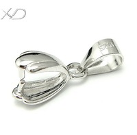 XD P072 925 sterling silver big smooth pendant pinch bail clips jewelry accessory on wholesale price