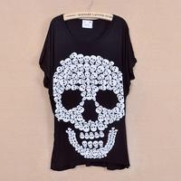 2013 summer women skull Printed loose batwing slim o-neck short-sleeve Cotton T-shirt Wholesale Free shipping LJ363