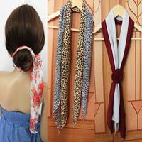 Chiffon solid color magicaf leopard print silk scarf belt hair accessory hair accessory cap female magic silk scarf long design