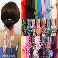Chiffon leopard print magicaf silk scarf magic silk scarf belt hair accessory hair accessory cap female dual