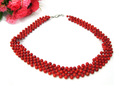 "natural round bead red coral 5 layer knitted necklace 18"" WBN001"
