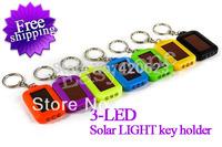Free shipping!!!Portable Mini 3 LED SURVIVAL Solar Power Flashlight Torch Light Keychain 8 colors
