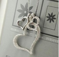 Free Shipping! Hot Wholesale fashion jewelry luxury Korean temperament uxury   heart  Silver crystal Pendant Necklace A029
