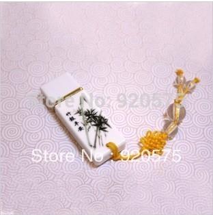 2014 Hot Sales Free Shipping! Chinese Characteristic Full Capacity Ceramics Bamboo USB Flash Drive 8GB 16GB 32GB 64GB