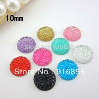 Free shipping 500pcs/lot  10mm fashion round shape mixed color flat back resin rhinestone(many colors to choose)