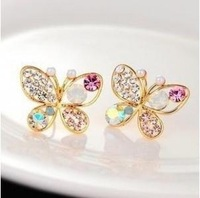 Minimal mix styles $5 Novelty 2013 Cute Rainbow Rhinestone Crystal Butterfly Earrings C4R8 Free Shipping