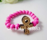 Hip-hop Style Rose Hemu Beads +ankh cross Bracelet, Good Wood,Best Gift GW-021
