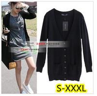 2013 V-neck long-sleeve medium-long sweater cardigan s-xxxxl full