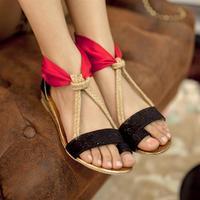 2013 women's  t belt color block decoration set vintage back zipper sandals  shoes