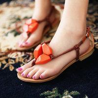 2013 women's  hemp rope flip-flop beads flat heel sweet gentlewomen   shoes