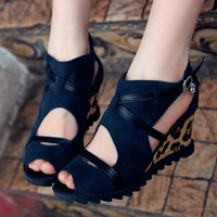 2013 women's  open toe leopard print wedges sandals gladiator style female   shoes