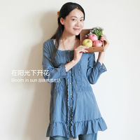 FREE SHIPPING Sing in Spring Fresh vintage shirt one-piece dress d338