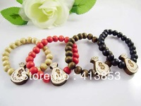 Hip-hop Style Rose Hemu Beads +Pistol Bracelet, Good Wood,Best Gift GW-015