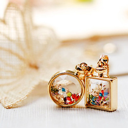 Luxury crystal multicolour transparent perfume bottle design short necklace chain necklace(China (Mainland))