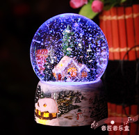 Wsa christmas house luminous colorful crystal ball music box music box
