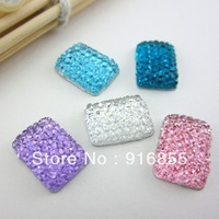 Free shipping 300pcs/lot 10*14mm fashion Rectangle Shape mixed color flat back resin rhinestone