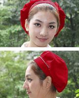 Wholesale waitress work hat factory floor cap dark red