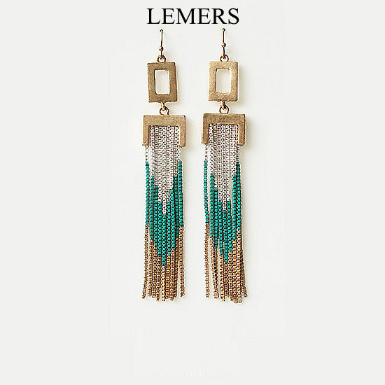 LEMERS freeshopping jewelry Fashion vantage punk tassel long drop earrings free shipping(China (Mainland))