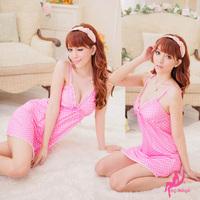 Spaghetti strap transparent pink small heart pattern twinset nightgown sexy underwear set twinset  free shiping
