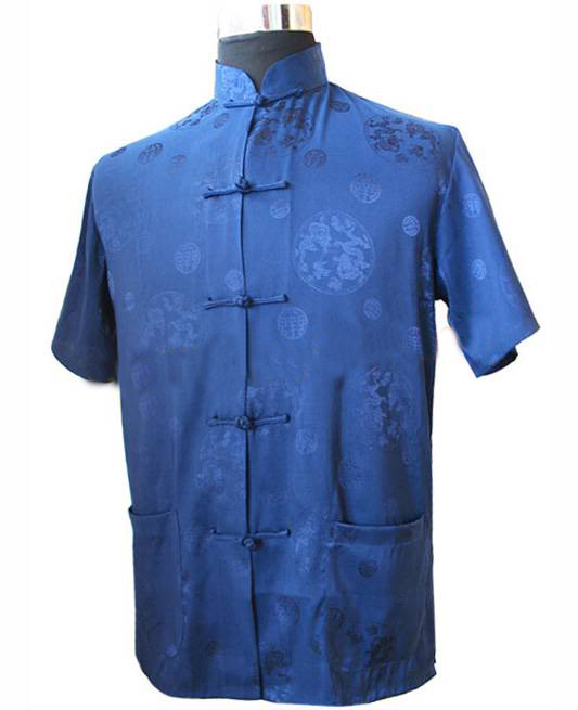 Navy Blue New Chinese Men's Silk Satin Kungfu Shirt Coat top S M L XL XXL XXXL M2066(China (Mainland))