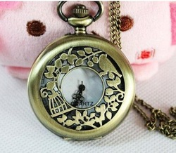 Free shipping Jewelry Necklace,Large size birds carved pocket watch necklace, watch necklace(China (Mainland))