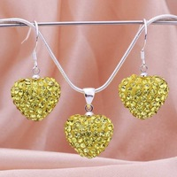 Free Shipping 925 Sterling Silver Jewelry Set Fashion Rhinestone Crystal Shamballa Jewelry sets Disco Necklace Earring SBS038