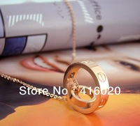 Free Shipping  Fashion Jewellery Cater Love Screws Bicyclic Necklace Rose Gold Ring Clavicle Chain